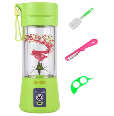 Gnker Portable Juicer with Travel Sport Bottle Electric Fruit Blender